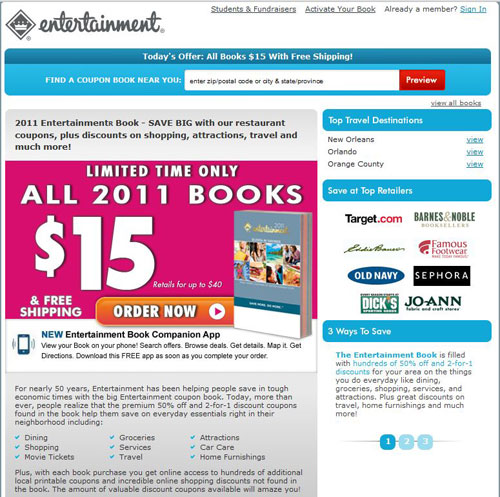 The homepage of Entertainment Book
