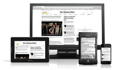 The website of The Boston Globe has a responsive design
